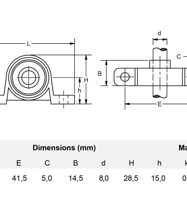 Miniatur Stehlager 8 mm