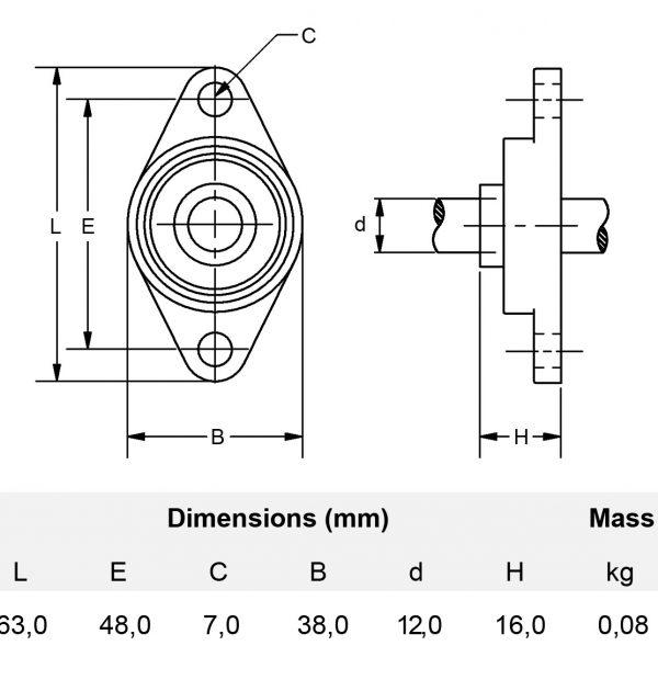 Miniatur Flanschlager 12 mm
