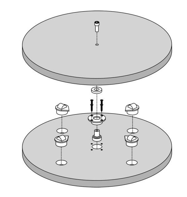 Rollenlager mit Achse für Drehplatten
